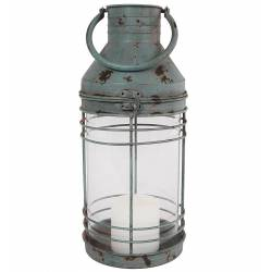 Grande Lanterne à Poser ou à Suspendre Style Ancien Porte Bougie en Fer Couleur Bleu Vert Patiné Globe en Verre 16,5x16,5x49cm