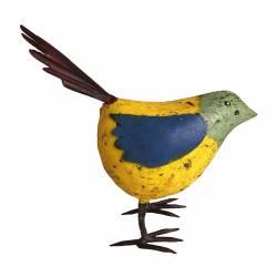 Oiseau Oisillon Représentation de Volatile en Fer Métal Objet Décoratif Coloré Intérieur Extérieur Jaune Vert Bleu 8,5x22,5x24cm