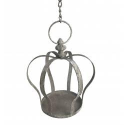 Bain à Oiseau Motif Couronne Nichoir Mangeoire Oiseaux Porte Pot ou Plante avec Chainette en Fer Patiné Gris 19x19x20cm