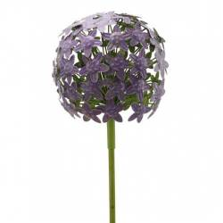 Fleur d'Allium sur Tige Décoration Florale pour Jardin Massif ou Pot de Fleur en Métal Coloré Vert et Violet 20x20x116cm