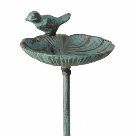 Grand Tuteur Bain d'Oiseau ou Pic de Jardin Coupelle Façon Bénitier Motif Oiseau en Fonte Patinée Verte 14x15x100cm