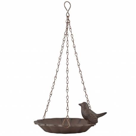 Bain à Oiseaux à Suspendre Auge ou Mangeoire à Oiseaux Ronde Coupelle en Fonte Patinée Marron 7,5x16x16cm