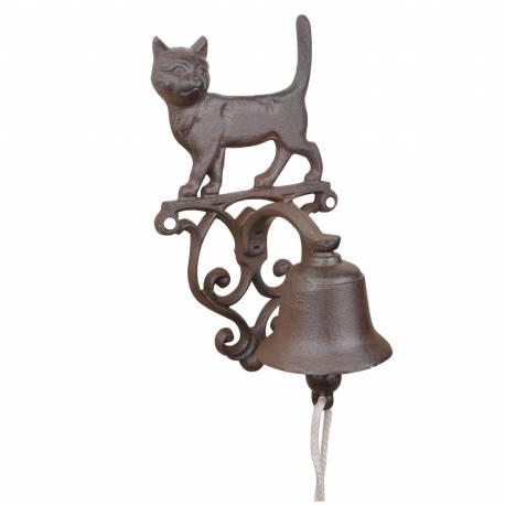 Cloche Sonnette Motif Chat Carillon Clochette de Porte Murale sur Crédence en Fonte Patinée Marron 13x14,5x24cm