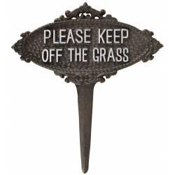 Tuteur Pic de Jardin Motif Etiquette Keep Off The Grass Blanche Tige en Fonte Patinée Marron 1x21x23cm