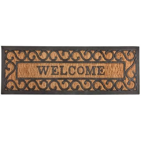 Tapis Gratte Pieds de Forme Rectangulaire ou Paillasson Motifs Volutes Inscription Welcome en Coco et Caoutchouc 1x25x75cm
