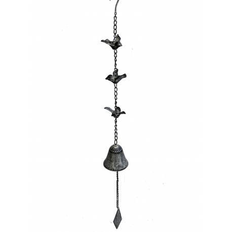 Suspension Cloche ou Décoration Murale Motifs Oiseaux à Accrocher en Fonte Patinée Grise 7x7x82cm