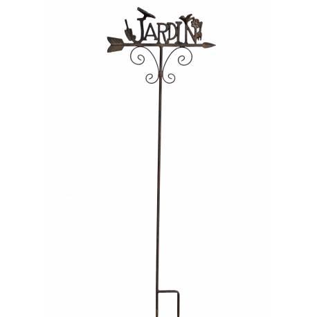 Tuteur Pic de Jardin Inscription Jardin Tige en Fer Patiné Noir Rouille 7,5x38x127cm