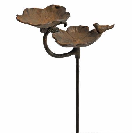 Grand Tuteur Bain d'Oiseaux à Piquer Double Coupelles Façon Bénitier Motif Oiseau en Fonte Patinée Noire Rouille 16x30x95cm