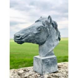 Grande Statue de Cheval Tête ou Buste de Cheval Tête de Pilastre ou Colonne en Fonte Grise 20x56x59cm