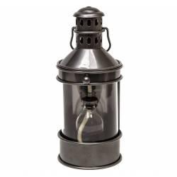 Grande Lampe à Pétrole Lanterne à Poser ou à Suspendre Style Ancien en Fer Couleur Gris Patiné Globe en Verre 17,5x20x38,5cm