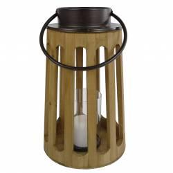 Lanterne Décorative Cylindrique Lampion Anse en Fer Bougeoir à Suspendre à Poser en Bois Naturel et Globe en Verre 24x24x42cm