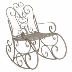 Rocking Chair Chaise à Volutes Fauteuil de Jardin a Bascule Intérieur Extérieur en Fer Patiné Gris 62x96x102cm
