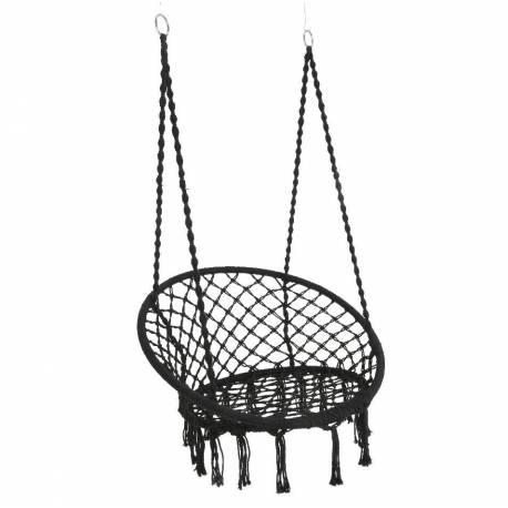 Fauteuil Suspendu Coton Noir Siège à Suspendre Chaise Hamac Balancelle 82x82x123cm