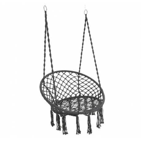 Fauteuil Suspendu Coton Gris Siège à Suspendre Chaise Hamac Balancelle 82x82x123cm