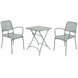 Salon de Jardin Salon de Thé 2 Places Personnes Table Bistrot et 2 Chaises en Fer Patiné Et Peinture Epoxy Vert