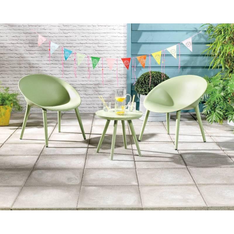 Salon de Jardin Moderne Salon de Thé 2 Places Personnes Contemporain Table  Bistrot et 2 Chaises en PVC Vert