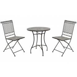 Salon de Jardin Salon de Thé 2 Places Personnes Table Bistrot et 2 Chaises Pliantes en Fer Patiné Marron et Céramique
