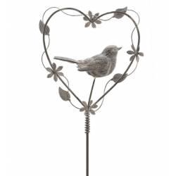 Tuteur à Plantes ou Pic de Jardin Motif Coeur et Oiseaux à Planter en Fer Patiné Gris 3x16x86cm