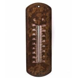 Thermomètre Vintage Mural Décoratif en Celsius et Farenheit à Fixer ou à Poser en Fer Effet Rouillé 1x11x30,5cm