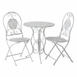 Salon de Jardin Salon de Thé 2 Places Personnes Table Bistrot et 2 Chaises Pliantes en Fer Gris