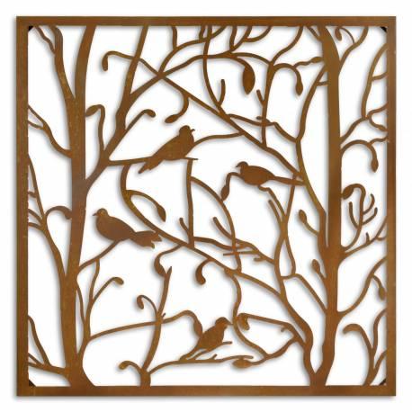 Fronton Décoratif Mural Motif Nature Arbre de Vie Forme Carrée en Métal Marron Rouille 3,5x84x84cm