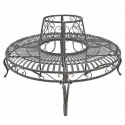 Grand Geant Banc Circulaire Tour d'Arbre Banquette de Parc en Fer et Fonte Marron 91x220x220cm