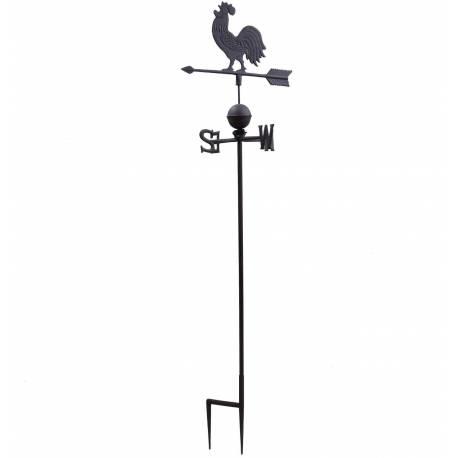 Girouette Murale avec 4 Points Cardinaux Motif Coq 2 Pics en Fonte Patinée Marron 45x45x185cm