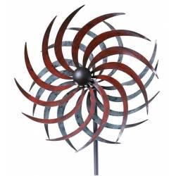 Grand Mobile Pic Tuteur de Jardin Eolienne Moulin à Vent Double Hélices en Fer Coloré 13,5x32,5x175cm