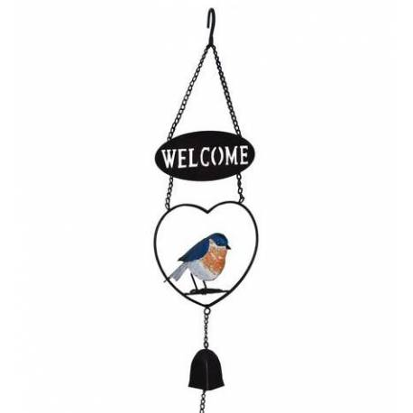 Suspension Welcome Cloche Clochette Motifs Oiseaux à Accrocher en Métal 11,5x17x65cm