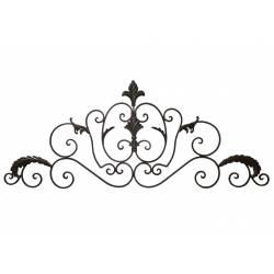 Applique Décorative Style Baroque Fronton Mural ou Dessus de Porte à Poser en Fer Patiné Marron 1x41x102cm