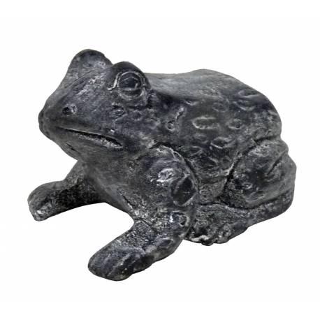 Statuette Grenouille Façon Rainette ou Animal Décoratif à Poser en Fonte Patinée Grise 6,5x8x12cm