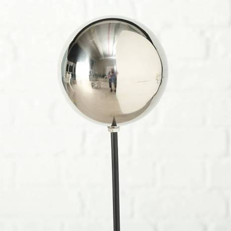 Grande Boule Chromée sur Tige Tuteur à Piquer Déco de Jardin en Métal 13x13x120cm