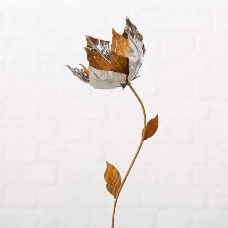 Fleur sur Tige à Piquer Tuteur Décoration Florale de Jardin en Métal Oxydé et Chromé 16x16x90cm