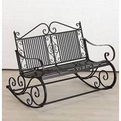 Rocking Chair Double Chaise à Volutes Fauteuil de Jardin a Bascule en Fer Noir 91x93x117cm