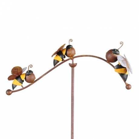 Tuteur Tige Motifs Abeilles Mobile de Jardin Rotatif à Planter en Fer Patiné Marron Rouille 23x34x102cm