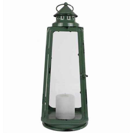 Grande Lanterne à Poser ou à Suspendre Bougeoir Design Lampion en Acier 20x20x60cm