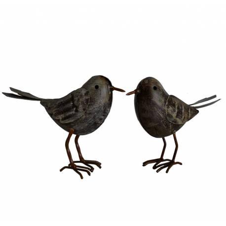 Duo d'Oiseaux ou Couple de Volatiles Oisillons à Poser en Fer Patiné Gris 4,5x11x14,5cm