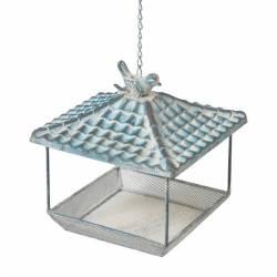 Nichoir Style Pagode Mangeoire à Oiseaux avec Chainette en Fer 20x20x23cm
