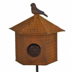 Nichoir à Oiseaux Mangeoire ou Perchoir à Piquer en Métal Oxydé 21x21x148cm