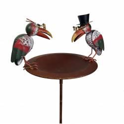Bain à Oiseaux Abreuvoir Mangeoire Perchoir sur Pique en Métal 22,5x29x107cm