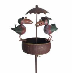 Mangeoire à Oiseaux Nichoir sur Pic Mobile Corbeaux en Métal 22,5x29x107cm