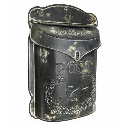 """Boite aux Lettres """"POST"""" ou Boite à Courriers Murale en Métal Noir 10x27x39cm"""