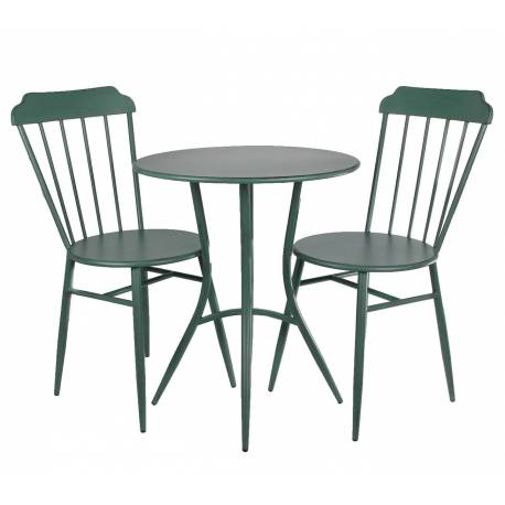 Salon de Jardin Style Bistrot en Métal Vert 1 Table + 2 Chaises
