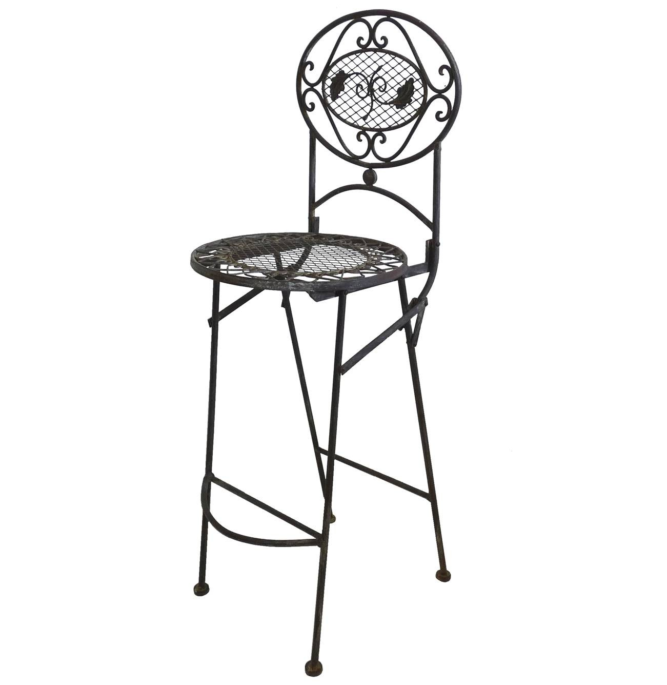 Chaise Haute Pliante Fauteuil De Bar Pliable Ou Pour Ilot Central En Fer Forg Marron 67x72x115cm