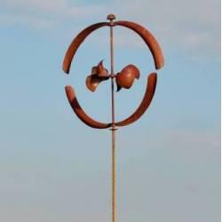 Jolie Eolienne Moulin à Vent Décoration de Jardin en Acier Brut Oxydé 60x60x235cm