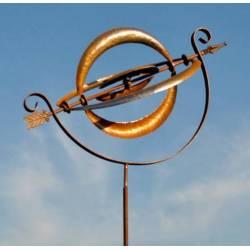 Sphère Armillaire Eolienne Mobile de Jardin en Acier Brut Oxydé 40x40x190cm