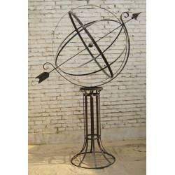 Grande et Prestigieuse Sphère Armillaire sur Socle Cadran Solaire en Acier Brut Oxydé 110x160x200cm