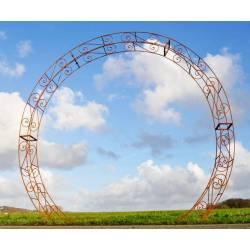 Prestigieuse Arche à Rosiers Passage Portail de Jardin en Acier Brut Oxydé 31x236x270cm