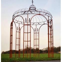 Harmonieuse Gloriette de Jardin Tonnelle Pergola Kiosque en Acier Oxydé 220x220x380cm