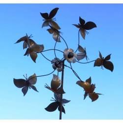 Eolienne Papillons Féérique sur Tige Moulin à Vent Décoration Animée de Jardin en Acier Oxydé 30x70x230cm